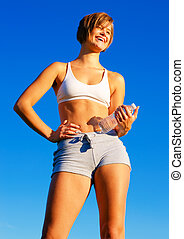 Fit Young Woman Working Out - Fit young woman working out,...