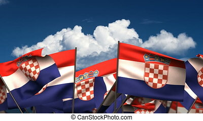 Waving Croatian Flags seamless alpha channel