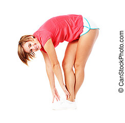 Young Fitness Woman in Red Shirt Stretching, Isolated on...