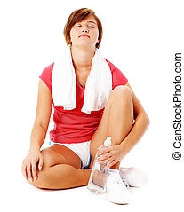 Young Fitness Woman in Red Shirt Isolated on White - Young...