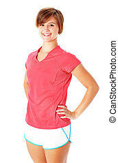 Young Fitness Woman in Red Shirt Isolated on White - Pretty,...