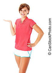 Young Fitness Woman in Red Shirt Presenting, Isolated on...