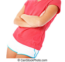 Close Up of Young Fitness Woman in Red Shirt Isolated on...