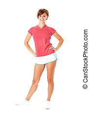 Young Fitness Woman in Red Shirt Isolated on White -...