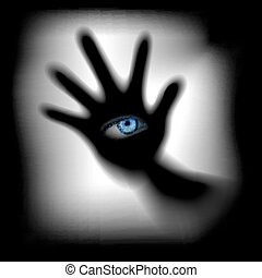 hand with an eye for glass - Vector illustration hand with...