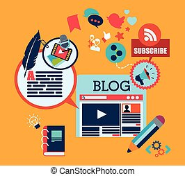 blog concept design, vector illustration eps10 graphic
