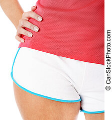 Young Fitness Woman in Red Shirt Isolated on White - Close...