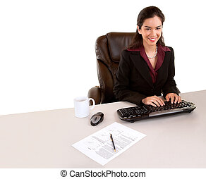 Businesswoman Working and Smiling at the Camera