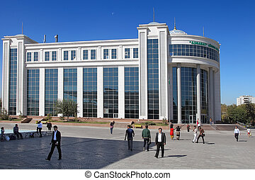 Ashgabat, Turkmenistan - October 15, 2014 Shopping center...