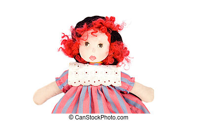Beautiful rag doll on a white background