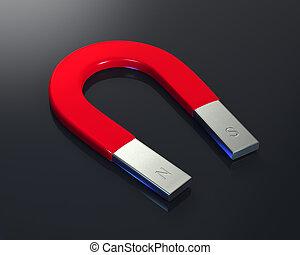 Horseshoe magnet - Large horseshoe magnet over a shiny black...
