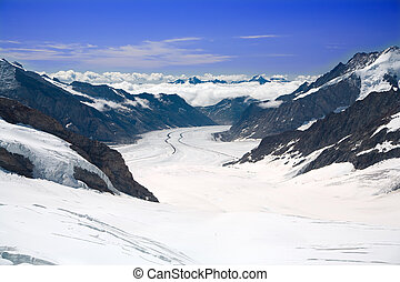 Aletsch Glacier in the Alps Switzerland - This is a top view...