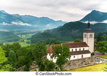 Church of Gruy�res in the canton of Fribourg, Switzerland...