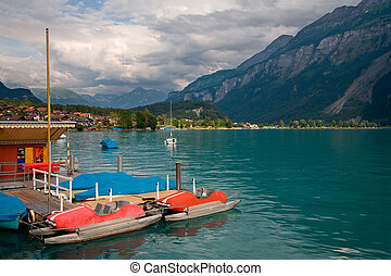 Pedal Boats on Lake Brienz, Berne Canton, Switzerland -...