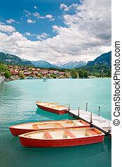 Barcos remos, lago, Brienz, berne, cantão,...