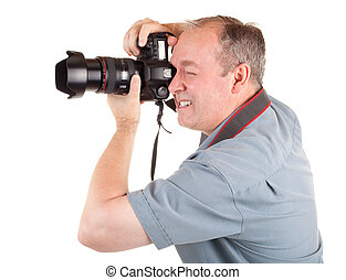 Male Photographer Shooting Something - A male photographer...