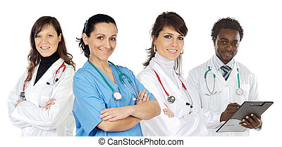 Medical team on a over white background