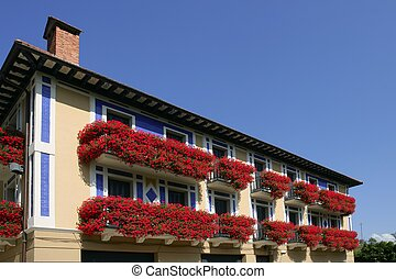 Beautiful house in Navarra with flowers on balcony -...