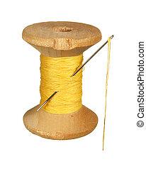 antigas, madeira, Carretel, de, amarela, fio, e, agulha,...