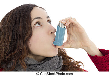 Woman with asthma using inhaler - Asthma woman using inhaler