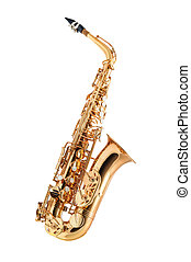 Saxophone isolated - Golden alto saxophone classical...