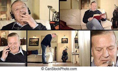 Active senior man montage - Senior mans life moments collage...