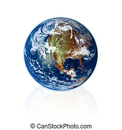 3d Earth planet on white background. Prototype from nasa web...