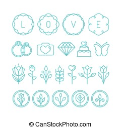 Vector love and wedding linear icons and design elements -...