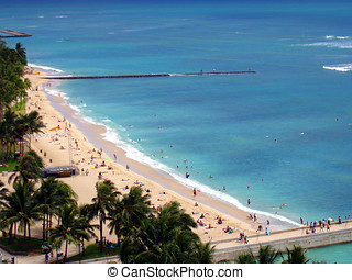 Waikiki Beach Oahu, Hawaii - Waikiki Beach from a balcony at...