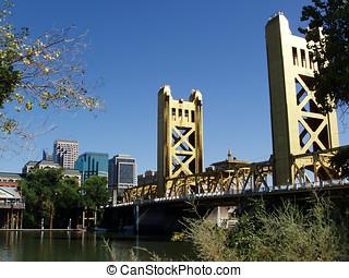 wieża, bramka, Most, Sacramento, Ca