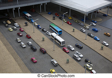 cars in the parking lot in the city