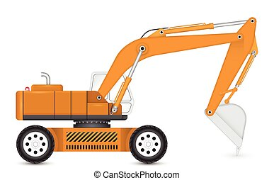 Backhoe - Illustration of backhoe with tyre wheel.