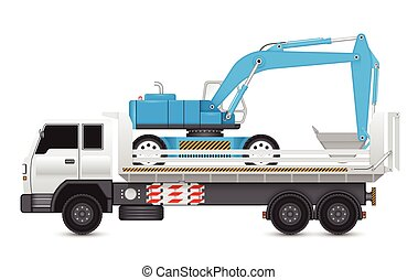 Backhoe - Illustration of backhoe machine on heavy truck