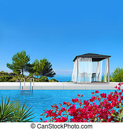 swimming pool with fantsatic view to the sea - fictitious 3D...