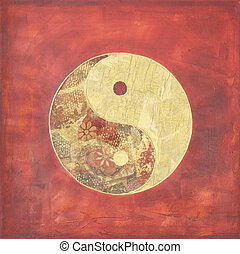 yin and yang collage - collage painting yin and yang,...