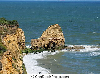 rock at the coast in the normandie