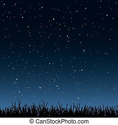 Seamless night sky and grass - Horizontal seamless vector...