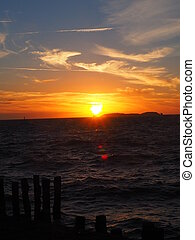sundown at the atlantic coast - sundown over the atlantik in...