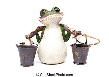 frog with buckets  - Statuette of frog with buckets on white