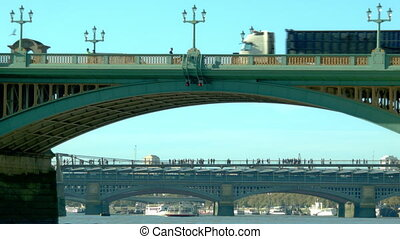 Red Bus passing on a bridge - Red Bus passing on Blackfriars...