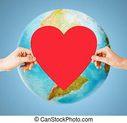 umano, mani, presa a terra, rosso, cuore, sopra, Terra,...