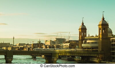 Train passing from Cannon Street Station, London, sunset