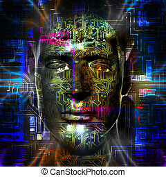 Cyborg's head - Cyborg artwork with computer electronics