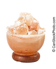 Himalayan salt lamp isolated on the - Himalayan salt lamp...
