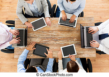 business team with laptop and tablet pc - business, people...