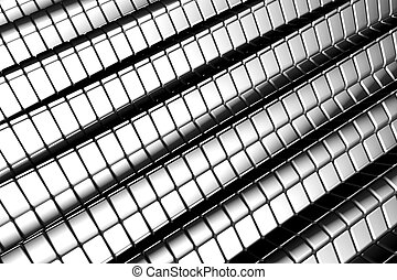 Abstract shiny tiles silver aluminum background with reflection