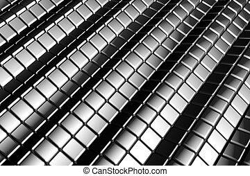 Abstract tiles silver aluminum background with reflection