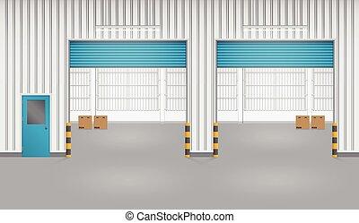 Shutter door - Illustration of shutter door and factory,...