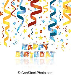 Happy birthday vector illustration with colorful confetti