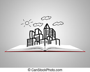 Open white book with sketch of city.
